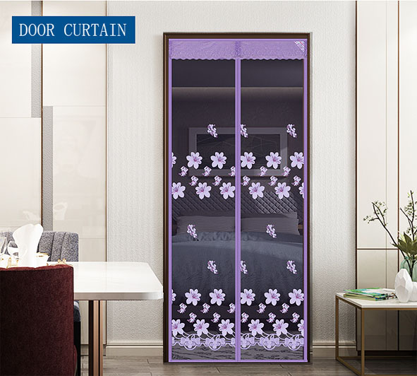 Peach Blossom Magnetic Soft Door Curtain Purple Wholesale And customization