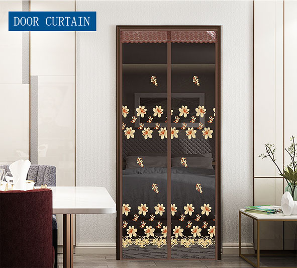 Peach Blossom Magnetic Soft Door Curtain Coffee Wholesale And customization