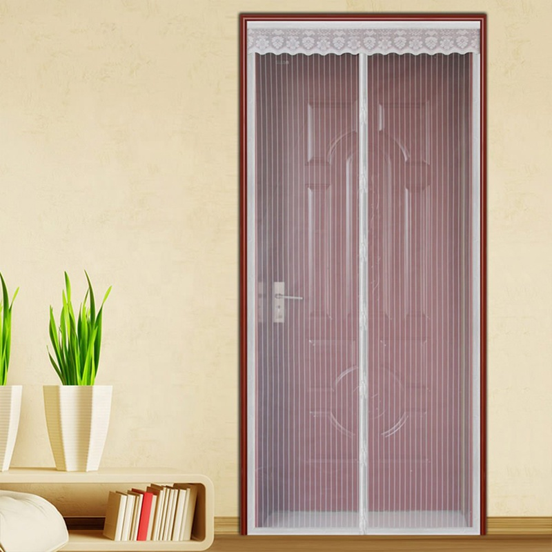 Factory Price Magnetic Door Screen with Heavy Duty Mesh Curtain and Full Frame Hook&Loop White