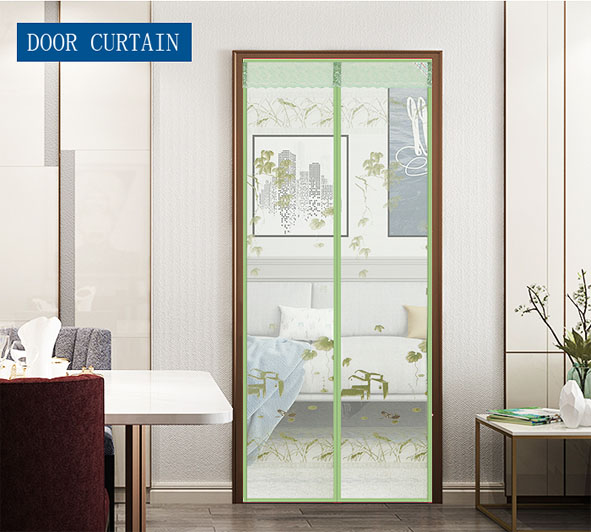 Printed Cloth Gold Waterfront Magnetic Soft screen Door Curtain Green