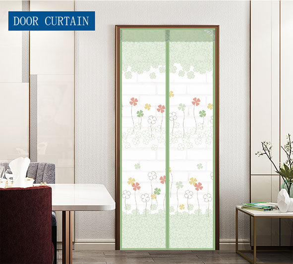 Wholesale and customization Polyester Printing Magnetic Screen Door Curtain Grass Four leaf clover Green