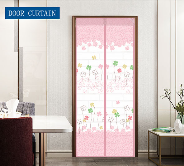 Wholesale and customization Polyester Printing Magnetic Screen Door Curtain Grass Four leaf clover Pink