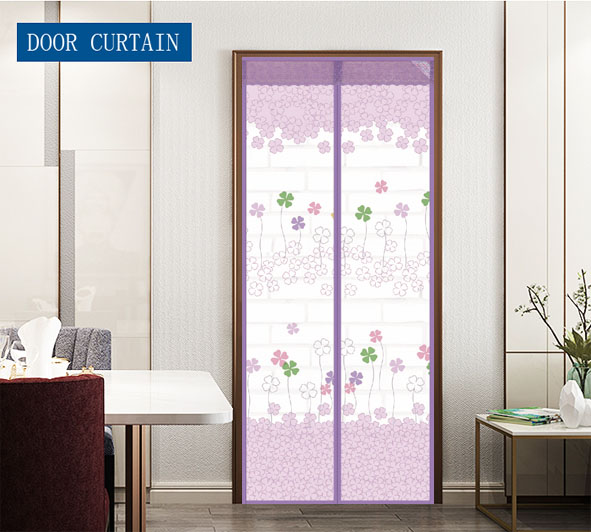 Wholesale and customization Polyester Printing Magnetic Screen Door Curtain Grass Four leaf clover purple
