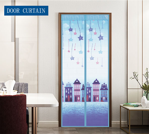 cartoon printing colorful Magnetic fly screen diy designs door curtain Blue